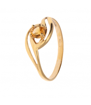 Solitaire Or Jaune 9kt Citrine