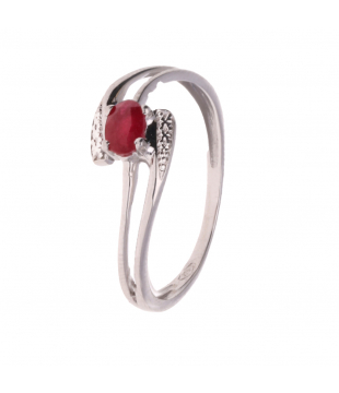 Solitaire Or Blanc 9kt Rubis
