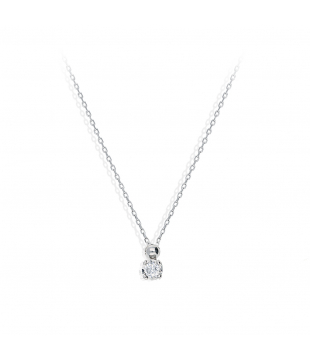 Collier Solitaire Or Blanc...