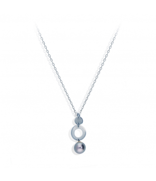 Collier Or Blanc 9kt Perle...