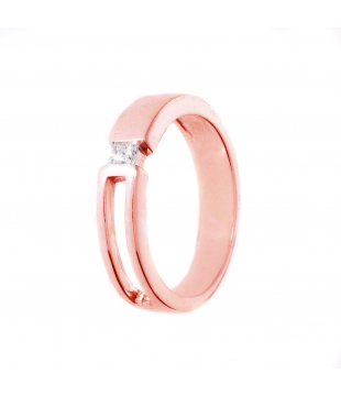 Bague Solitaire Or Rose 9...