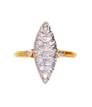 Bague marquise or bicolore...