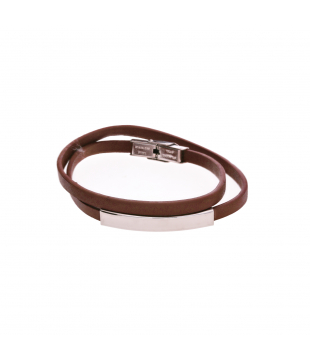 Bracelet double en cuir marron
