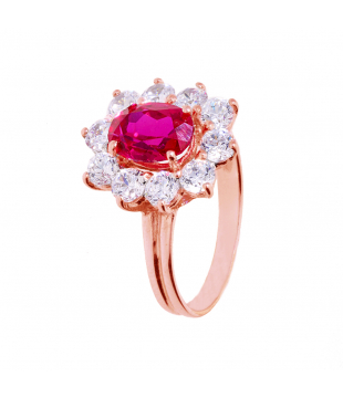Bague Or Rose 9kt Saphir...