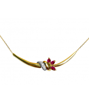 Collier Motif Or 18kt Rubis...