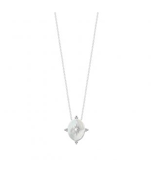 Collier argent Nacre  ovale...