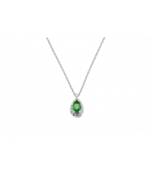 Collier Poire Or Blanc 18kt...