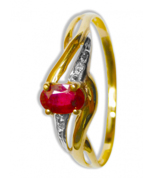 Bague Or Bicolore 9kt Rubis