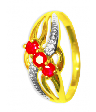 Bague or 9kt rubis diamant...